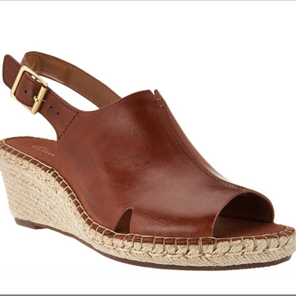ba995c532d3 Clarks Shoes - Clarks Artisan Petrina Meera Leather Wedge Sandals